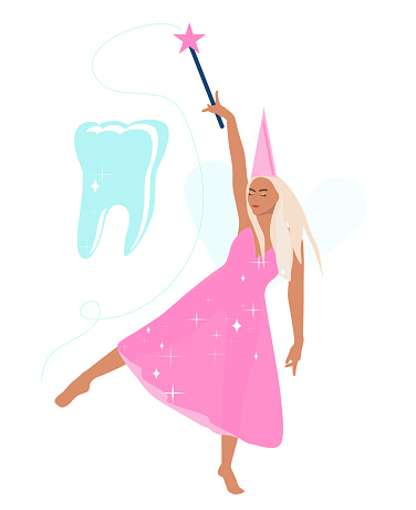 Tooth fairy holds a magic wand,advertises root canal treatment,implants.Princess dancing in transparent shiny dress barefoot. Tooth implant advertisement