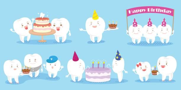 bildbanksillustrationer, clip art samt tecknat material och ikoner med tand familj fira födelsedag - molar