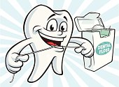 Vector Illustration of a tooth mascot flossing. File saved in layers for easy editing.