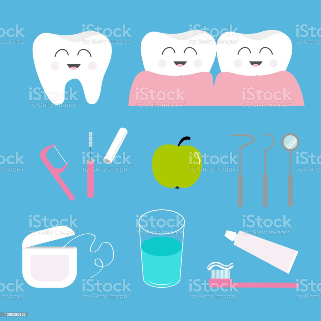 28490df7d Vetor de Conjunto De Ícones De Saúde De Dente Creme Dental Escova De ...