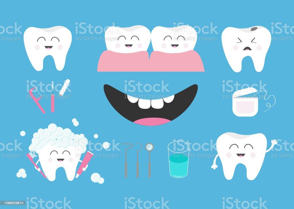 2cb4181f0 Vetor de Conjunto De Ícones De Saúde De Dente Creme Dental Escova De ...