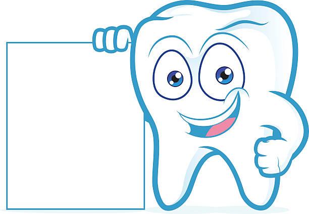 Tooth holding blank sign – Vektorgrafik