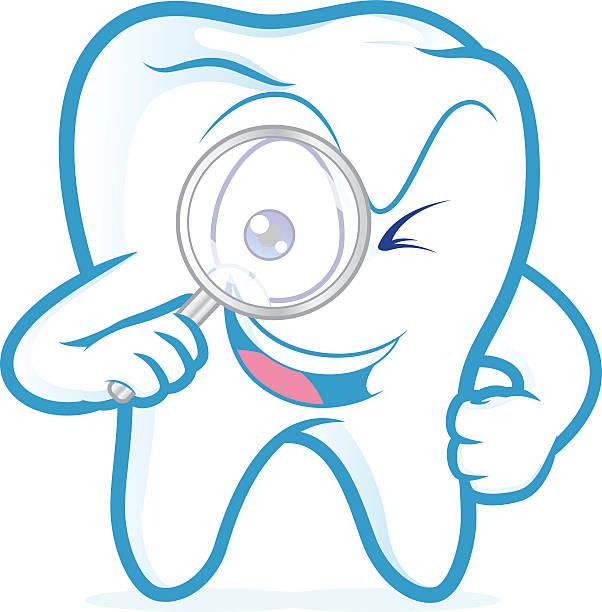 Tooth holding magnifying glass – Vektorgrafik