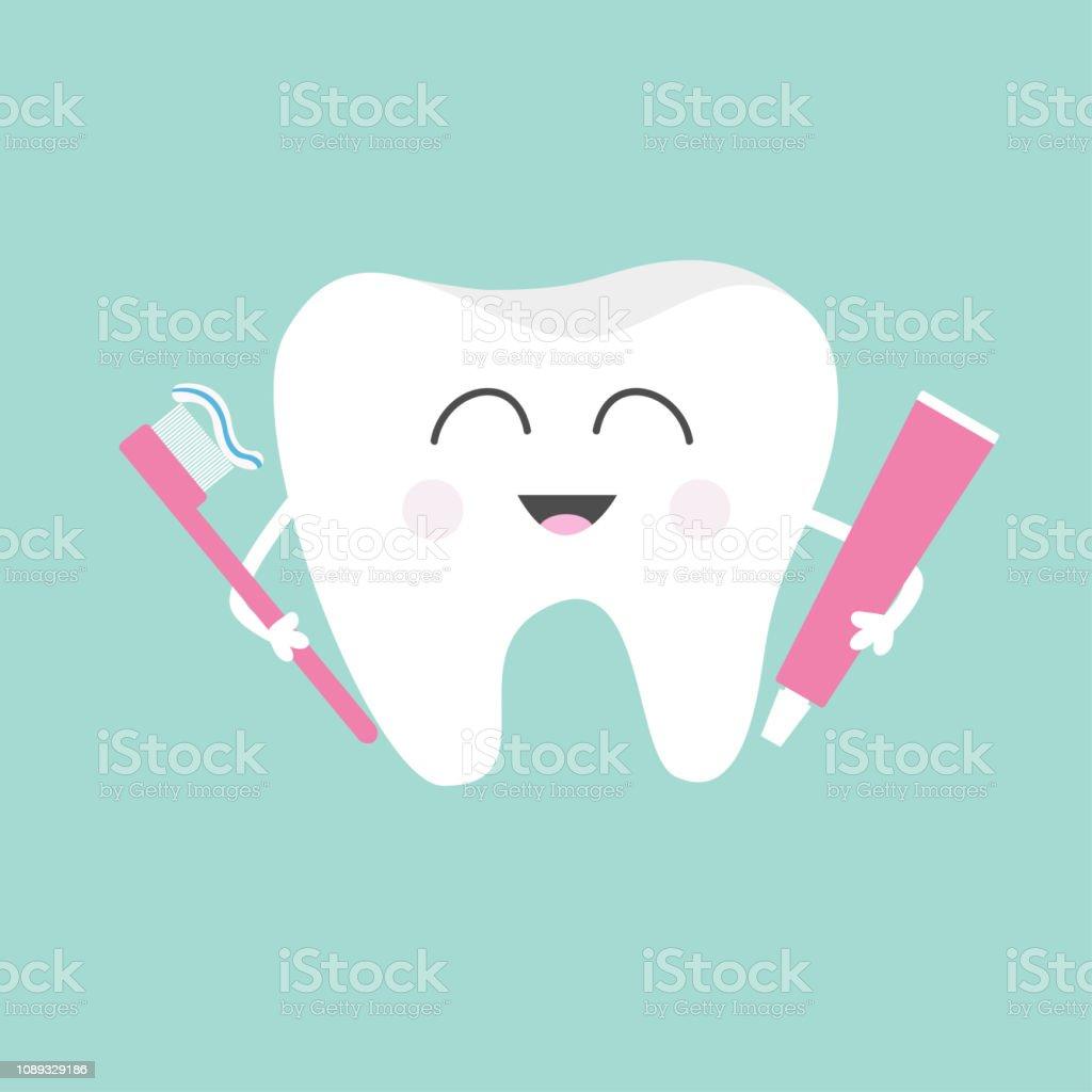 a8c828a3c Creme dental de exploração de dente e escova de dentes. Bonito desenho  animado personagem a