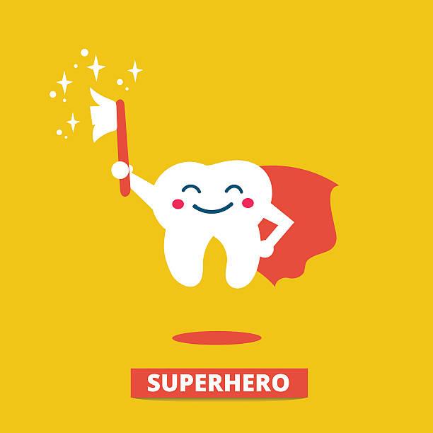 ilustrações de stock, clip art, desenhos animados e ícones de higiene dentária - baby super hero