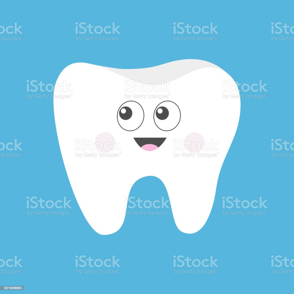 Zahnsymbol Süße Lustige Cartoon Lächelnd Charakter Mit Großen Augen