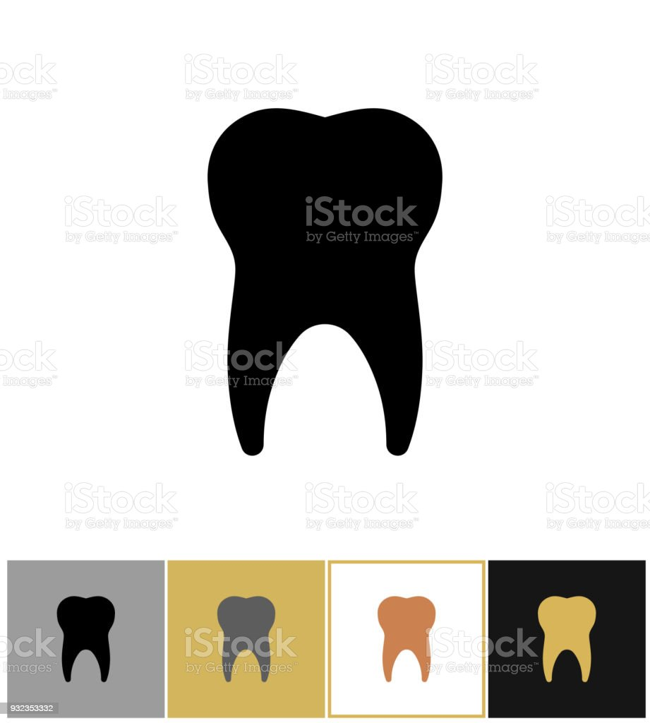 Tooth icon, dental teeth silhouette symbol on gold and white background vector art illustration