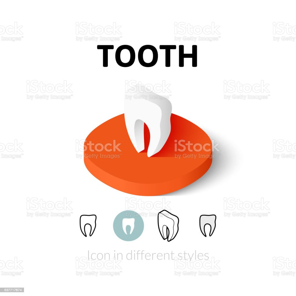 Tooth icon in different style vector art illustration