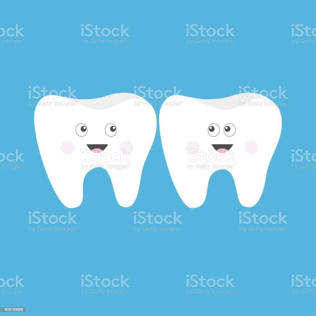 Zahniconset Süße Lustige Cartoon Lächelnd Charakter Mit Großen Augen