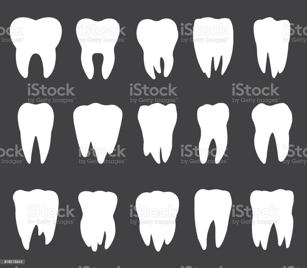 Tooth Icon Set Teeth Vector Silhouettes Stock Vector Art & More ...