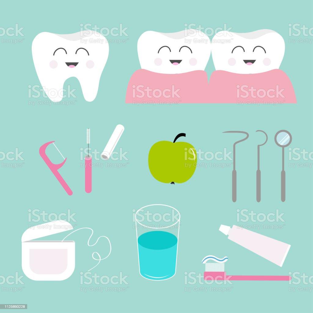 037130655 Vetor de Conjunto De Ícones Do Dente Creme Dental Escova De Dentes ...