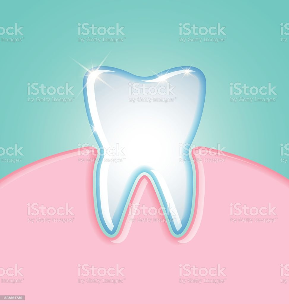 Tooth in gum vector art illustration