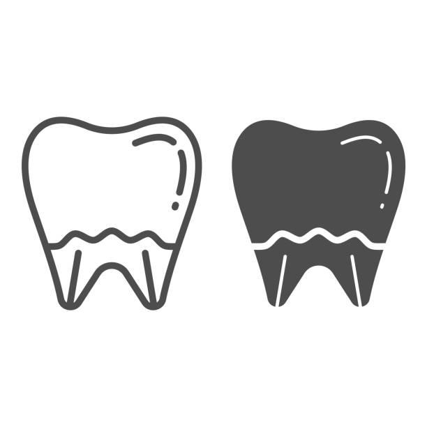 bildbanksillustrationer, clip art samt tecknat material och ikoner med tand linje och glyph-ikon. munhygien vektor illustration isolerad på vitt. dental health outline style design, designad för webben och app. eps 10. - emalj
