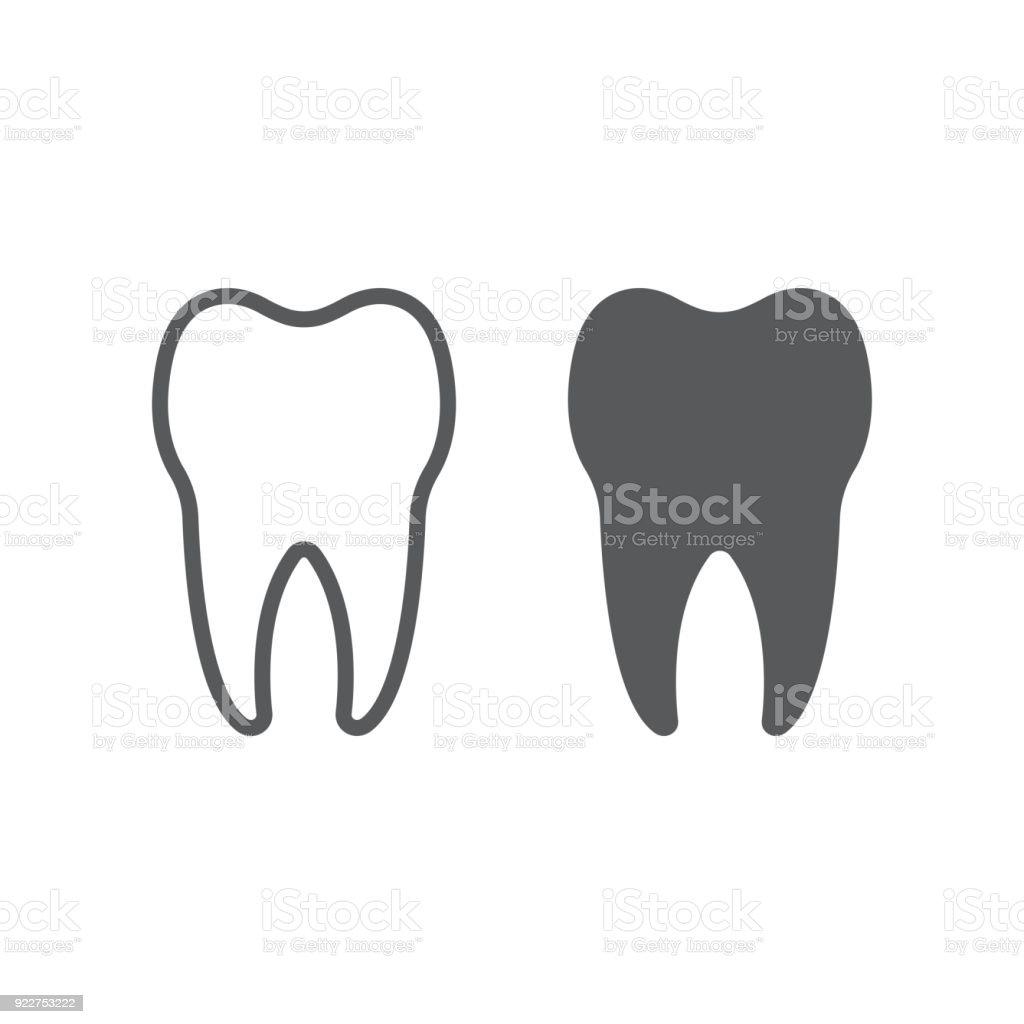 Zahnlinie Und Glyphsymbol Zahnmedizin Und Zahnärztliche Gesunde Dent ...