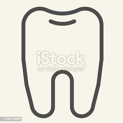 Tooth line icon. Dentistry or stomatology logo outline style pictogram on white background. Health dent for mobile concept and web design. Vector graphics