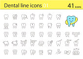 tooth thin line icons, vector illustration