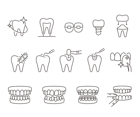 tooth line icons, vector illustration