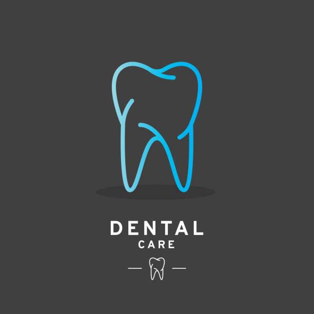 ilustraciones, imágenes clip art, dibujos animados e iconos de stock de diente logo, icono de cuidado dental - logos de dentista