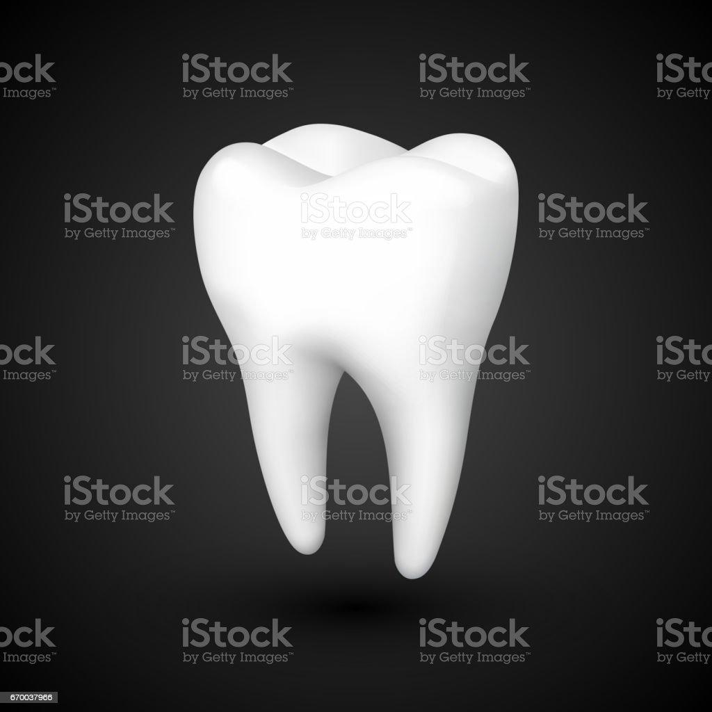 tand på en svart bakgrund, mall designelement, vektorillustration - Royaltyfri 3D-skanning vektorgrafik