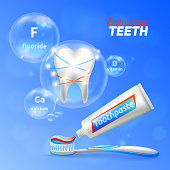 Dental care oral hygiene enamel protection  realistic composition with shining white tooth toothbrush and toothpaste vector illustration