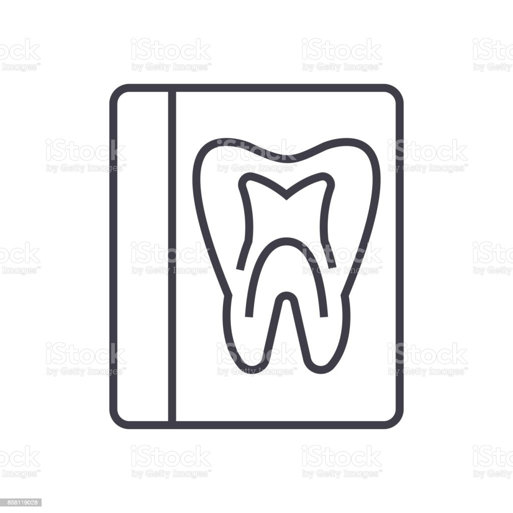 tooth record,medical dentist report vector line icon, sign, illustration on background, editable strokes vector art illustration