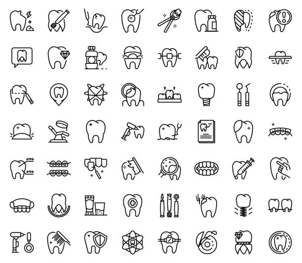 Tooth restoration icons set, outline style Tooth restoration icons set. Outline set of tooth restoration vector icons for web design isolated on white background dental health stock illustrations