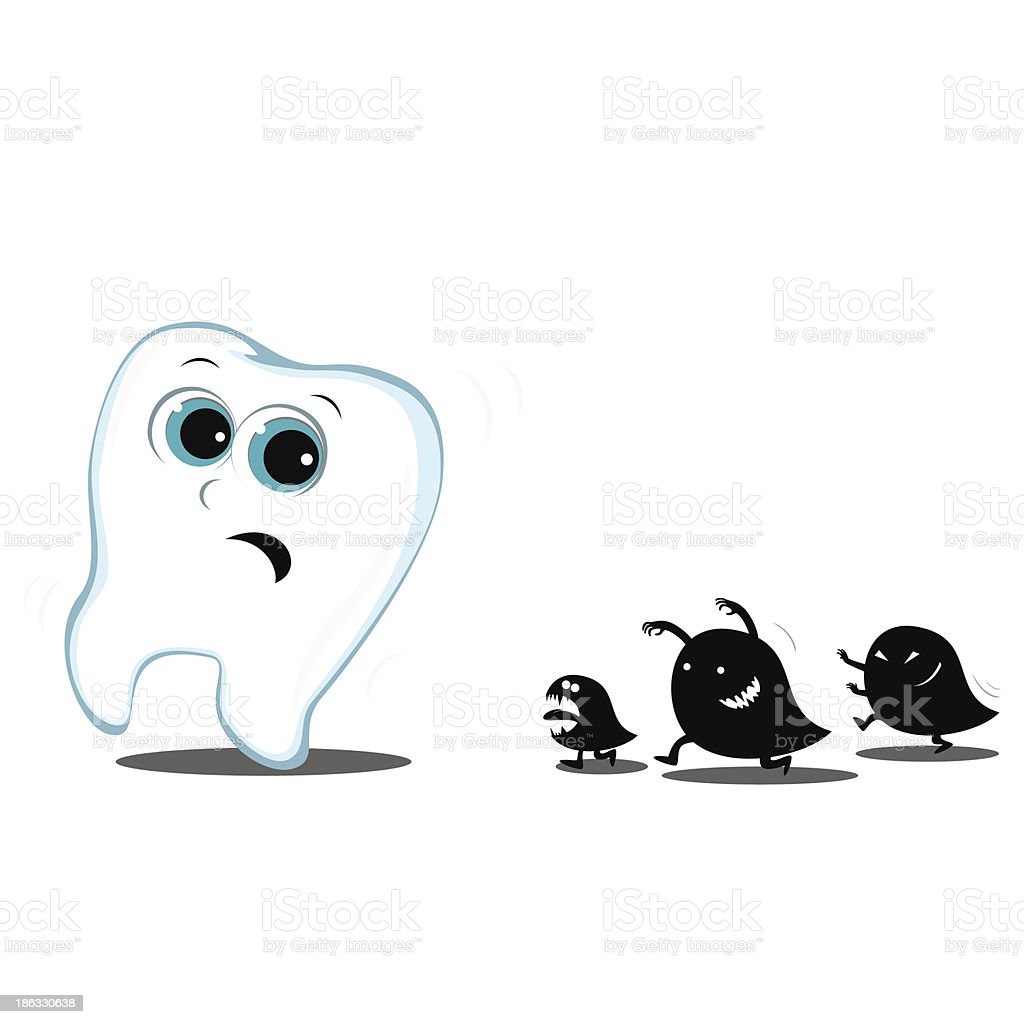 tooth running away from monsters carious
