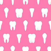 Tooth seamless pattern. Four different types of teeth on pink. Vector illustration