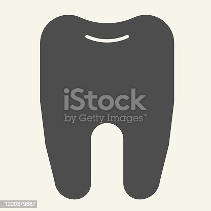 Tooth solid icon. Dentistry or stomatology logo glyph style pictogram on white background. Health dent for mobile concept and web design. Vector graphics