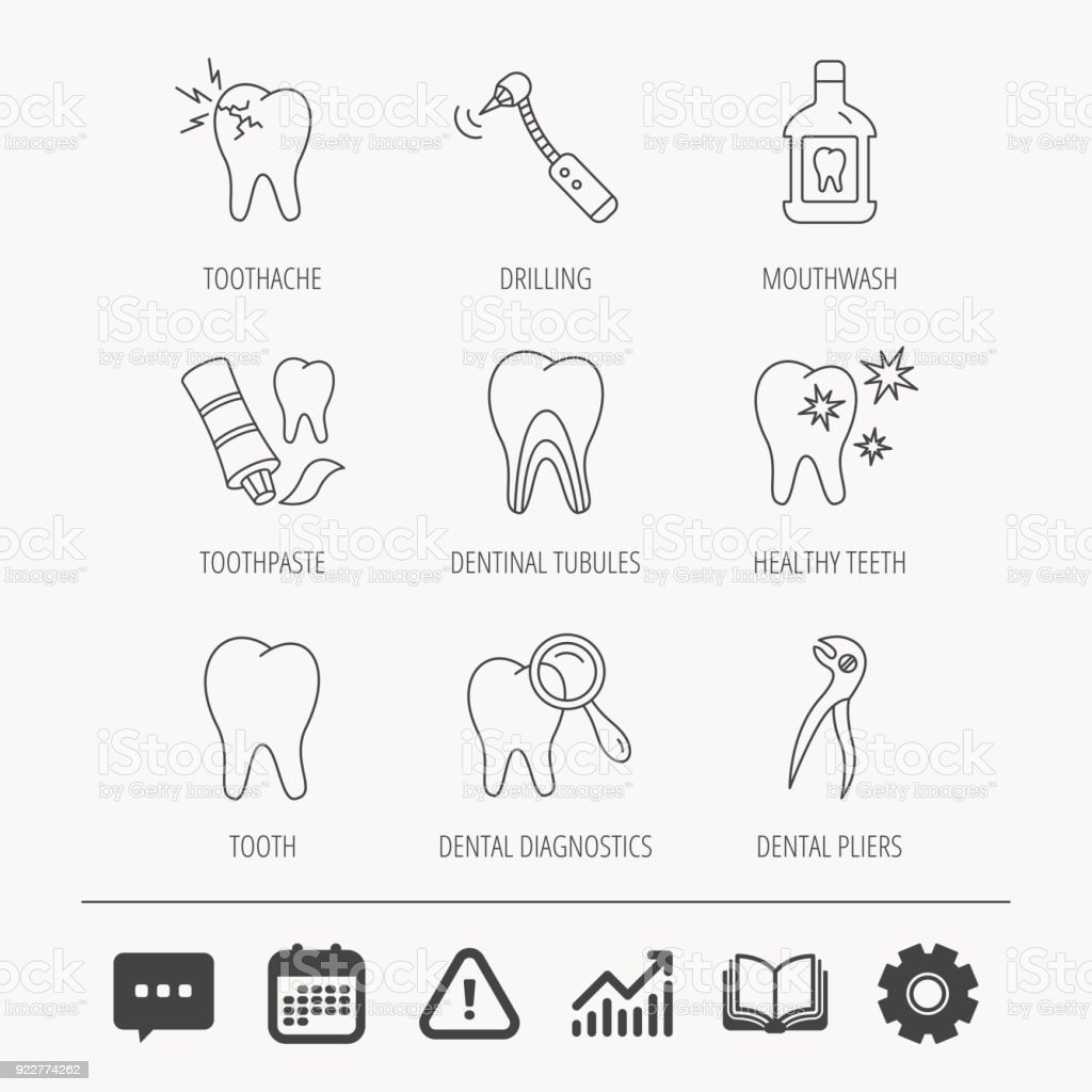 Tooth, stomatology and toothache icons. vector art illustration