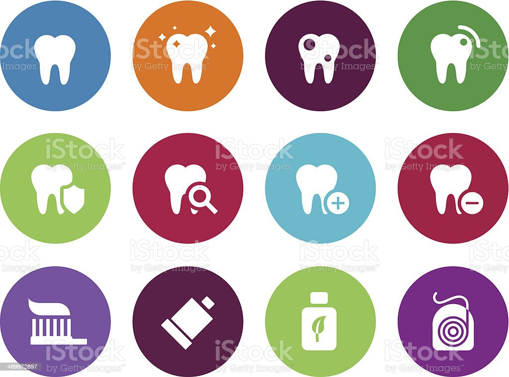 Tooth, teeth circle icons on white background. vector art illustration