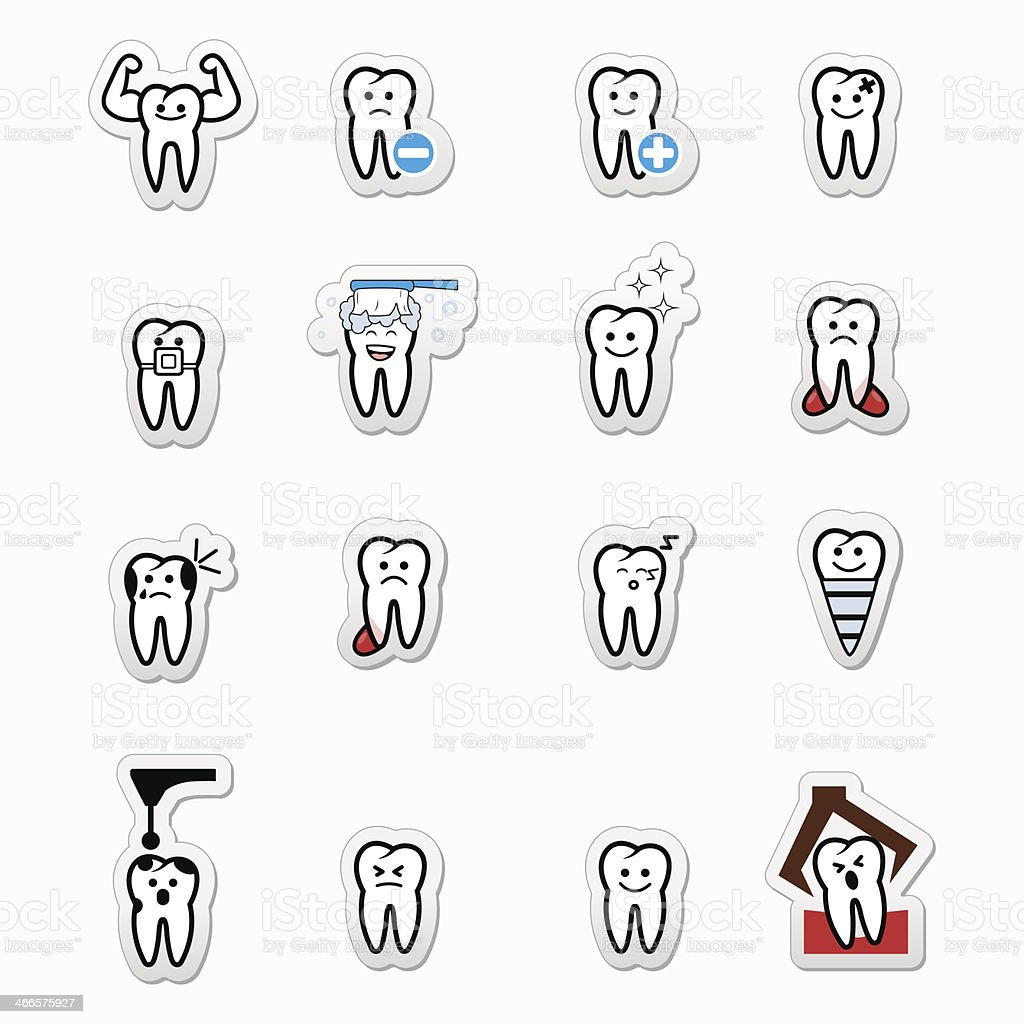 Tooth , teeth vector icons set royalty-free stock vector art