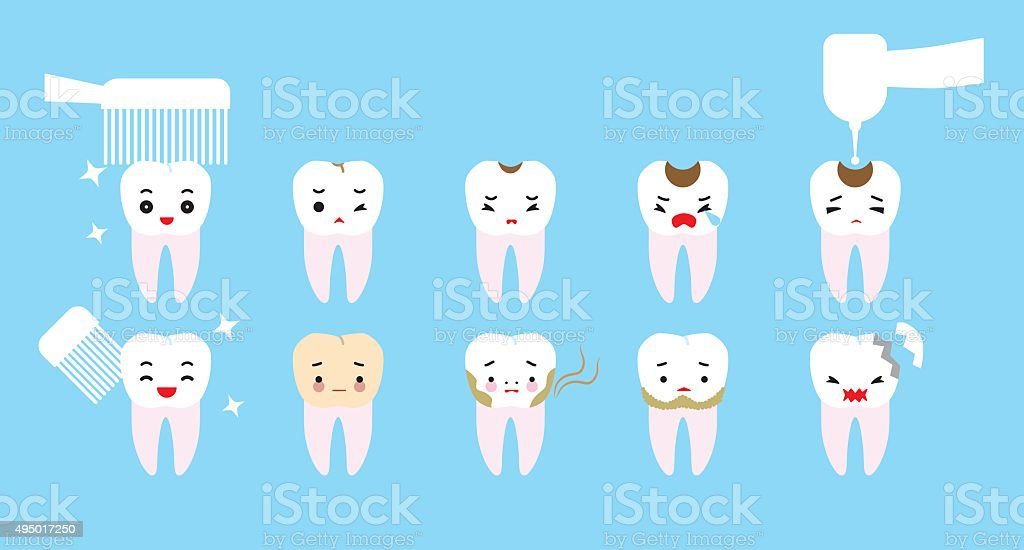 Tooth trouble character. Clean teeth and tooth decay vector art illustration