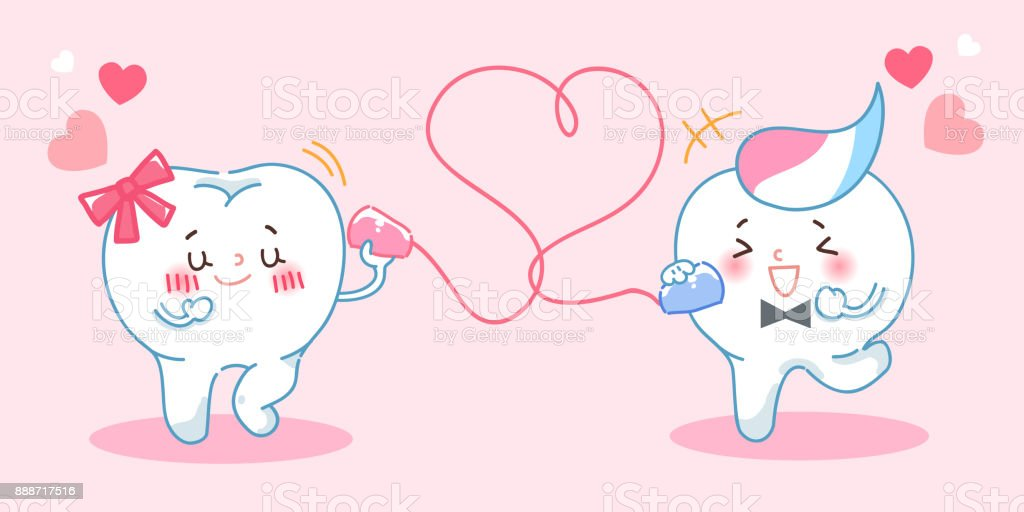 tooth use can phone vector art illustration
