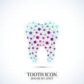 Tooth vector icon template. Medical design. Dentist office icon. Oral