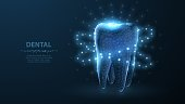 Abstract low poly shine bright tooth illustration. Blue background and stars. Dental care, dentist clinic, stomatology medicine concept. Dentist white toothpaste, teeth freshness symbol.