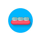 Tooth with braces icon isolated in flat design style vector illustration. Modern icon on the theme of stomatology in stylish colors. Website and design for mobile apps and other projects of yours