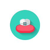Tooth with braces icon isolated in flat design style vector illustration. Modern, minimalist icon on the theme of stomatology in stylish colors. Website and design for mobile apps and other projects of yours