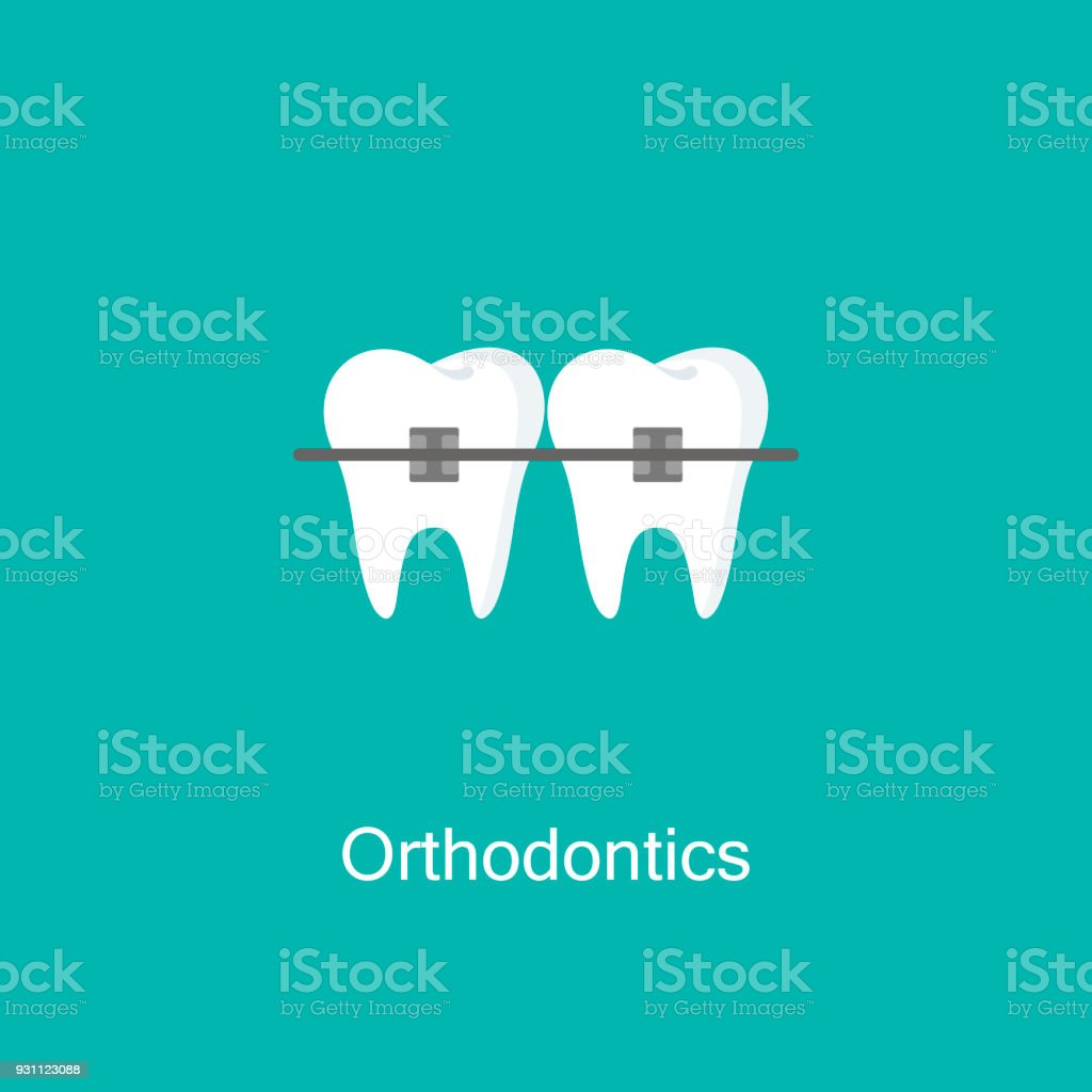 Tooth with braces icon. vector art illustration