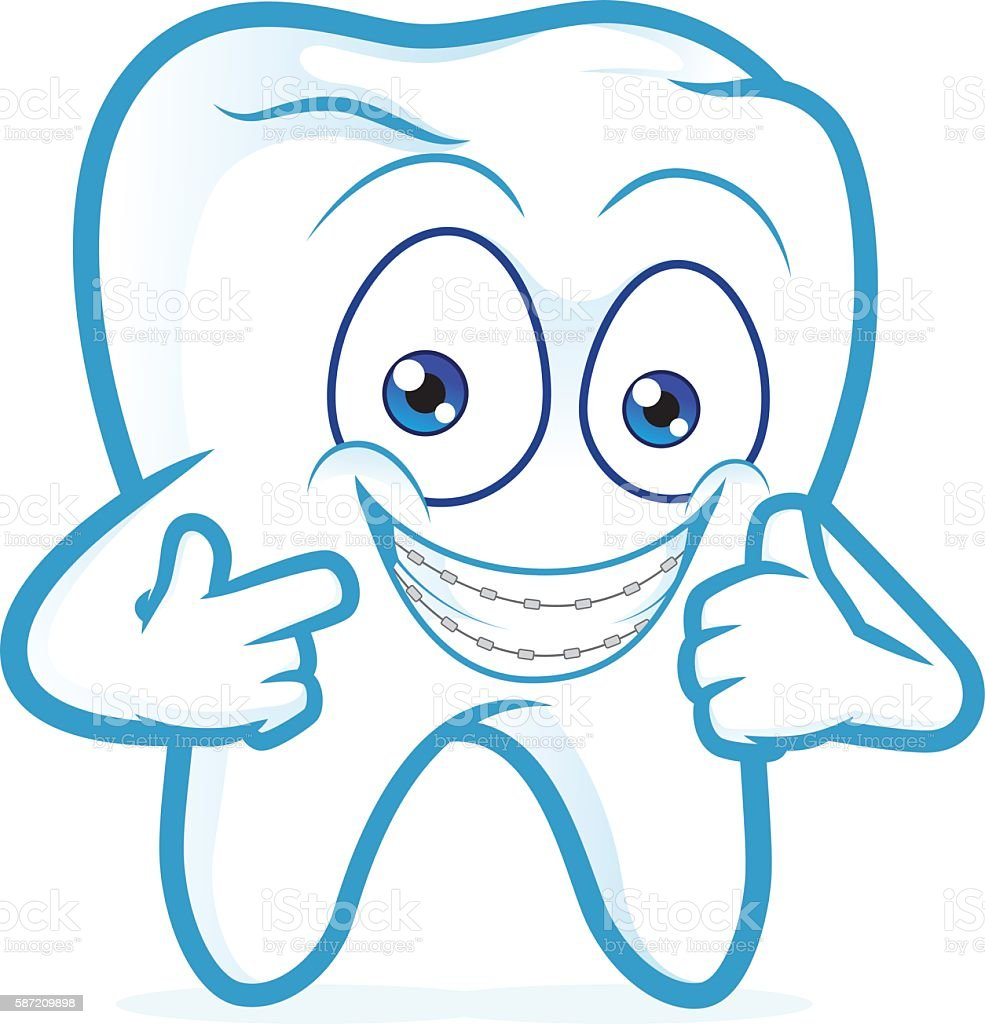 Tooth with braces on teeth vector art illustration