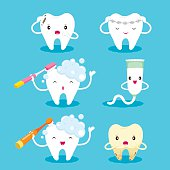 Tooth With Brush And Toothpaste Character Set