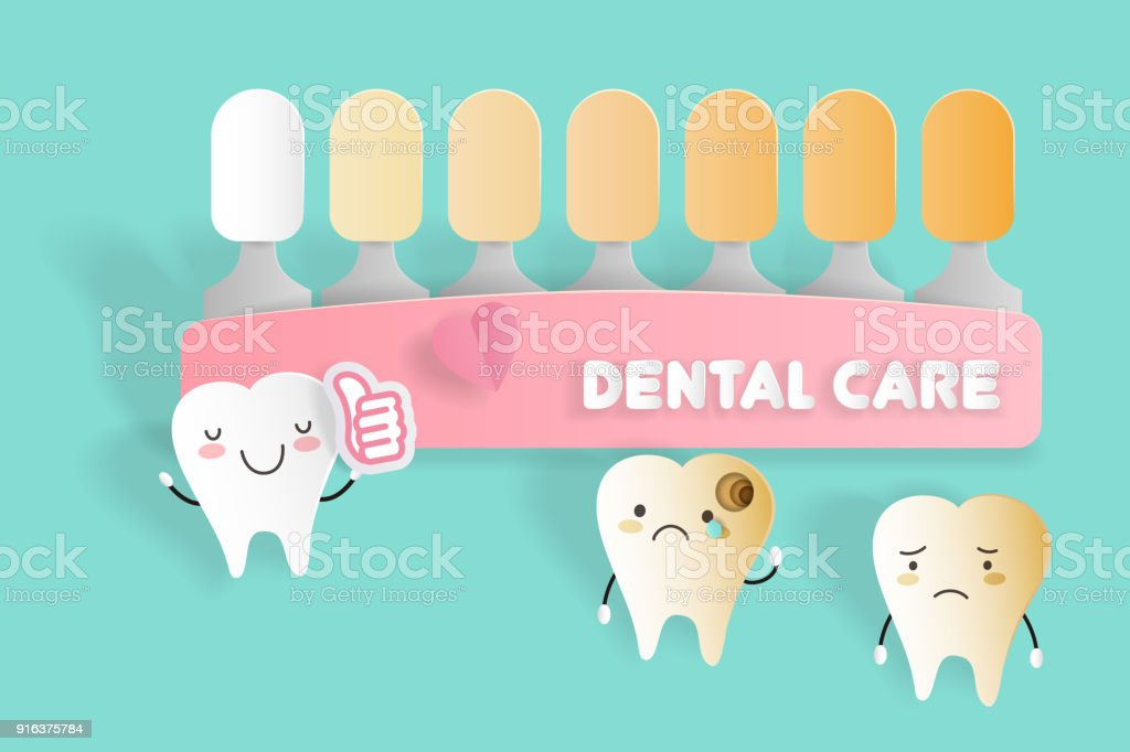 tooth with dental care concept vector art illustration