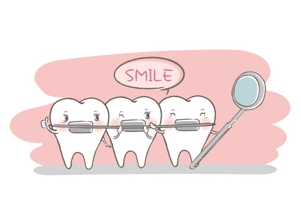 zahn mit zahnpflege-konzept - manschetten stock-grafiken, -clipart, -cartoons und -symbole