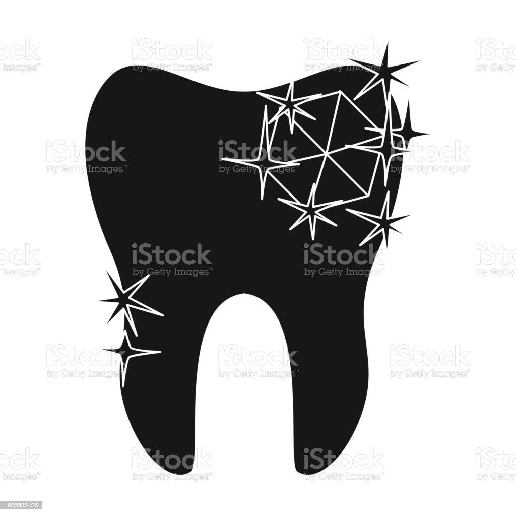 牙齒與孤立的白色背景上的黑色風格的菱形圖示。牙科保健象徵股票向量圖。 免版稅 牙齒與孤立的白色背景上的黑色風格的菱形圖示牙科保健象徵股票向量圖 向量插圖及更多 乾淨 圖片