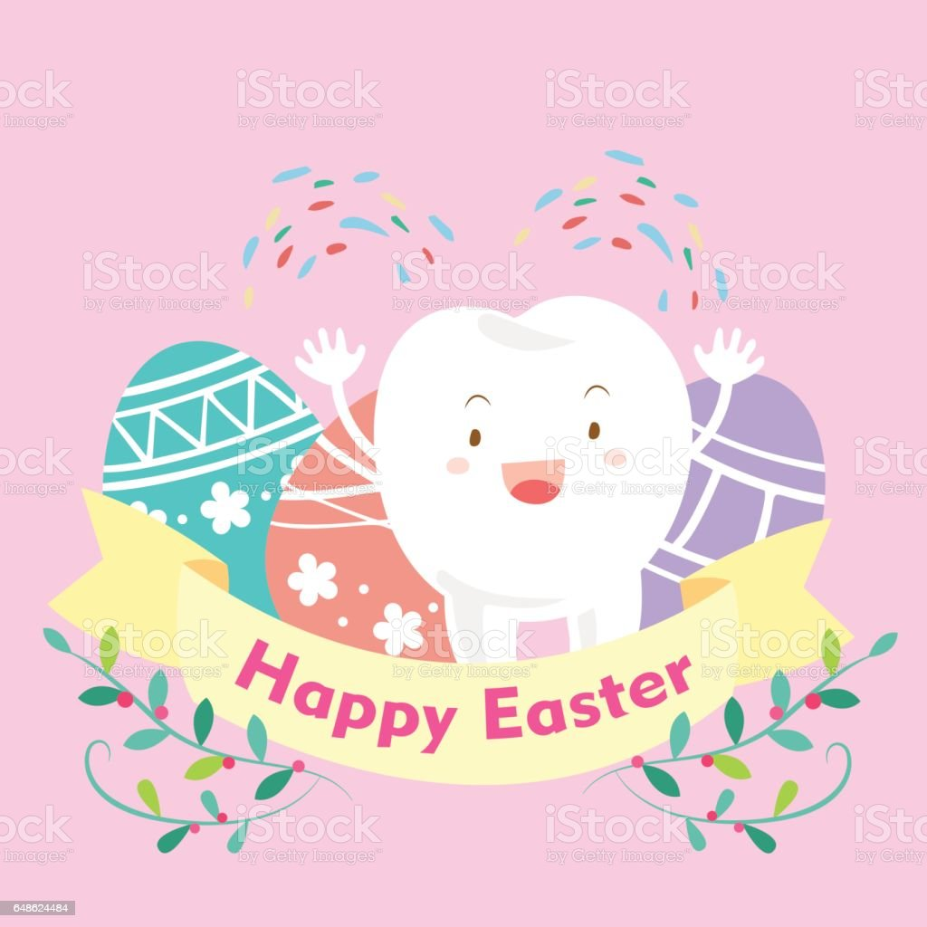 tooth with happy easter stock vector art 648624484 istock