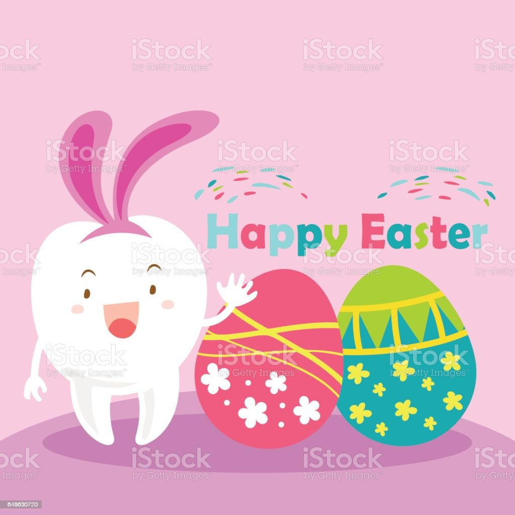 tooth with happy easter stock vector art 648630720 istock