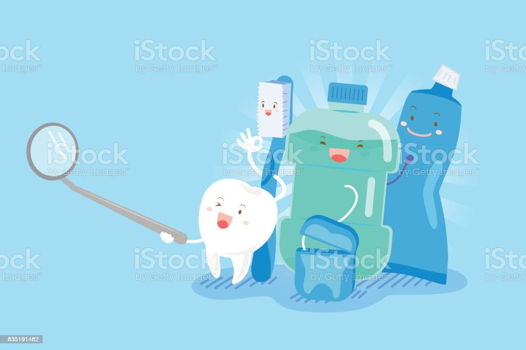tooth with health concept vector art illustration