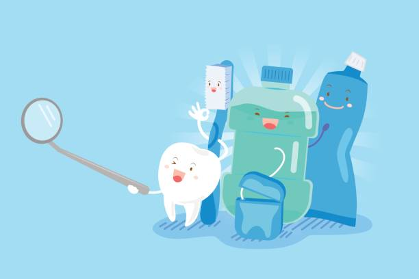 illustrazioni stock, clip art, cartoni animati e icone di tendenza di tooth with health concept - denti