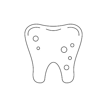 Tooth with plaque dental line art icon isolated on white background.