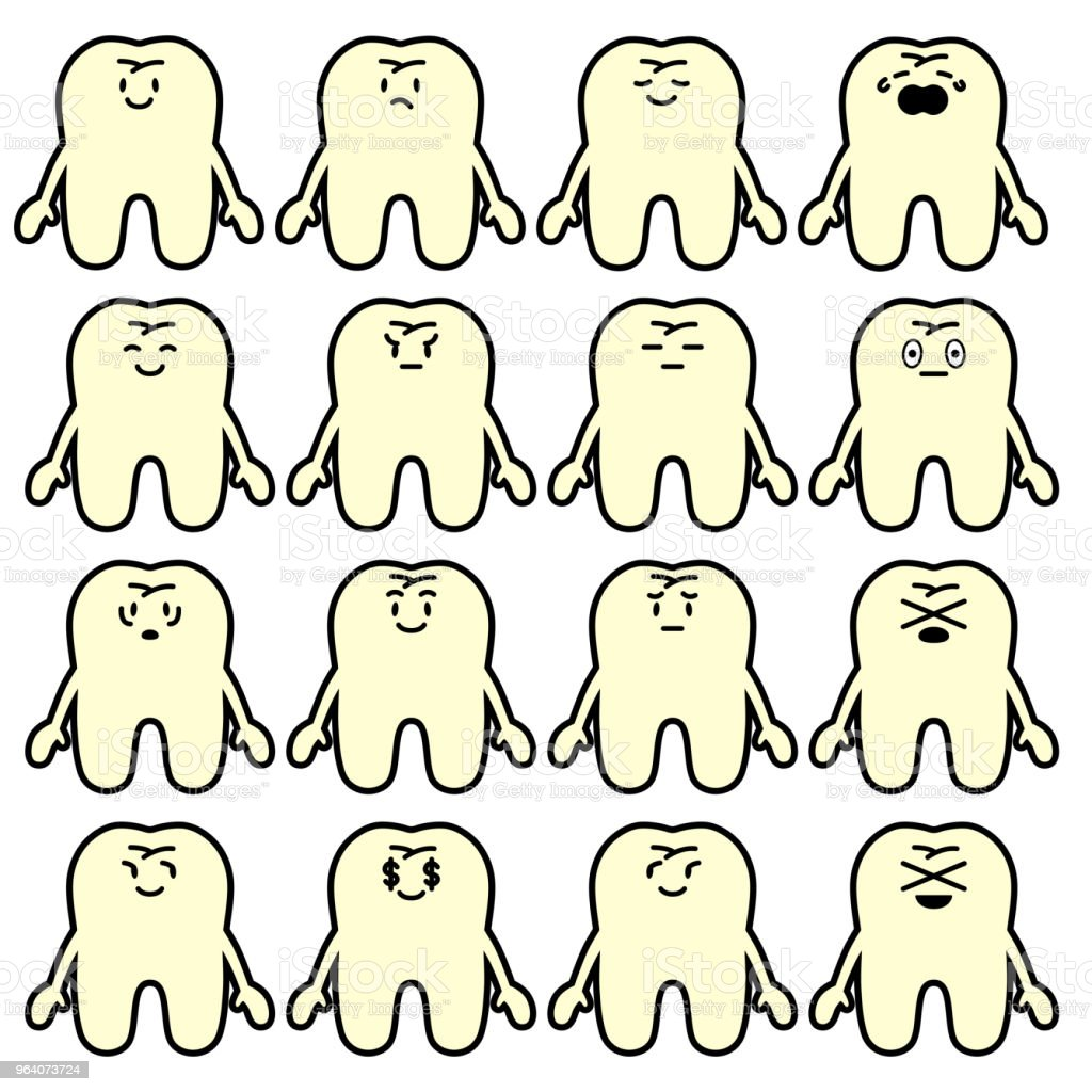 tooth with various facial expressions - Royalty-free Anger stock vector